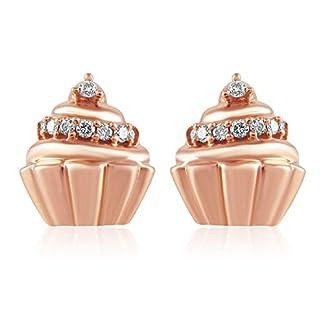 Senco Gold 18KT Rose Gold and Diamond Stud Earrings for Girls