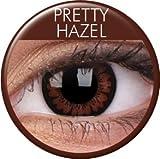 Meralens Circle Lenses braune Pretty Hazel ohne Stärke + 60ml Kombilösung + Behälter 14mm Big Eyes farbige Kontaktlinsen
