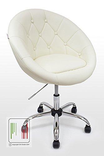 Stil sedie - poltrona girevole da camera e ufficio in ecopelle con inserti in ecopelle dello stesso colore, altezza regolabile, schienale ampio e seduta imbottita comoda modello linda (beige)