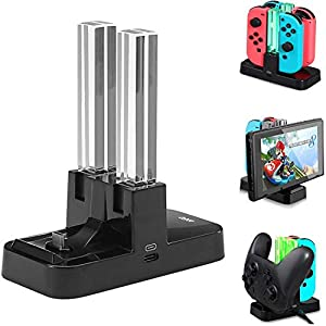 Nintendo Switch Controller Ladestation 6 in 1 Joy-Con Ladestation/Pro Controller Ladegrät/Typ-C Geräte Ladestation mit LED-Anzeige