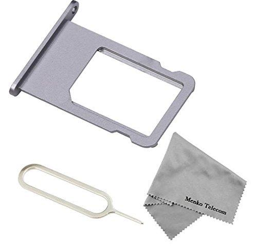 MMOBIEL SIM Karte Schlitten Tray Holder Halterung Nano Slot Ersatzteil für iPhone 6 4.7 inch (Grau) + Sim Open Eject Pin und Mikrofaser Tuch (Seite Plus-iphone 6-sim-karte)