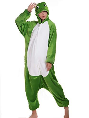 Frosch Hai Wolf Pinguin Löwe Eule Nilpferd Panda Onesie Kigurumi Pyjama Karneval Kostüm Maskenkostüm Kapuzenpulli Schlafanzüge Frosch, M(Height 160cm-170cm) ()