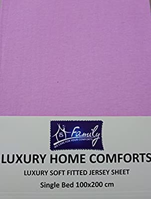 Family Bedding Premium Quality 100% Cotton Jersey Fitted Sheet,Single Bed - low-cost UK light shop.