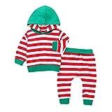 QinMM Infant Baby Jungen Mädchen Herbst Outfit, langarm mit kapuze tops gestreiften hosen outfits set kleidung rot für 6 monate-4 jahre