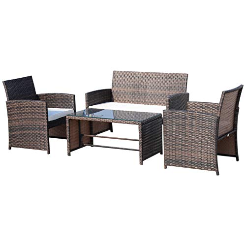 Ensemble Salon de Jardin 4 Places : canapé, 2 fauteuils et Table Basse Plateau Verre trempé résine tressée Imitation rotin Chocolat Coussins Blanc
