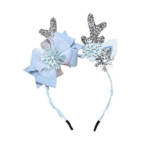 Amosfun Weihnachten Rentiergeweih Stirnbänder Haarbänder mit Rentierohren mit Schneeflocken verziert Weihnachten Rentier Kostümzubehör (silberblau)
