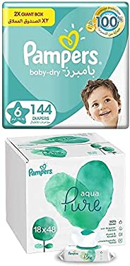 Pampers Baby-Dry, Size 6, 144 Diapers + 864 Aqua Pure Wet Wipes