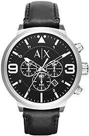 ساعة اتليك انالوج بسوار جلد للرجال من ارماني اكستشنج - AX1371