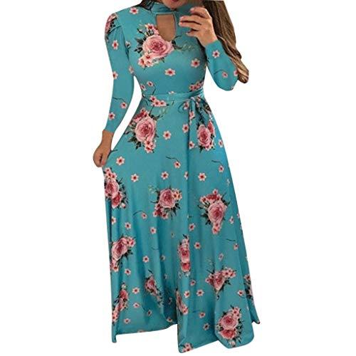 ikleider,Frauen Langarm Bandage Print O Neck Button Down Casual Langes Kleid Evansamp(Blau,XXL) ()