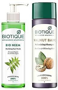 Biotique Bio Neem Purifying Face Wash, 200 ml And Biotique Bio Walnut Bark Fresh Lift Body Building Shampoo For Fine & Thinning Hair, 190Ml