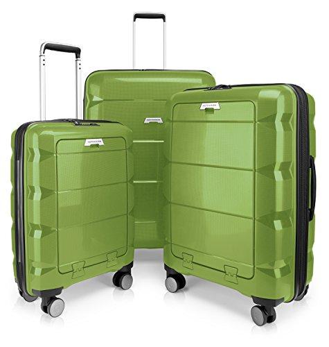 HAUPTSTADTKOFFER - BRITZ - Juego de 3 piezas (55 cm, 66 cm, 75 cm), Maleta rígida giratoria, Trolley, TSA, 4 rudeas – verde brillante