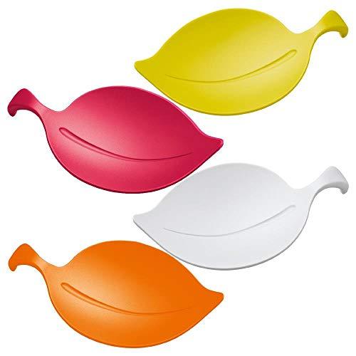 Glas Abdeckung (koziol Schalen 4er-Set  Leaf-On,  Kunststoff,  himbeer rot/orangerot/senfgrün/weiß, 9.2 x 13.4 x 2.6 cm)