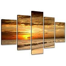 Visario 6302imagen sobre lienzo playa cuadros combinables (5piezas, 200x 100cm