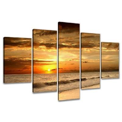 Visario Quadro su Tela Spiaggia 200 x 100 cm 5 Tele Modello Nr XXL 6302. I Quadri Sono montati su telai di Vero Legno. Stampa Artistica intelaiata e pronta da Appendere