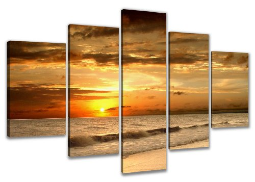 Visario 6302 Bild auf Leinwand Strand fertig gerahmte Bilder 5 Teile, 200 x 100 cm