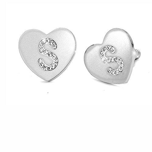 Orecchini da donna con cristalli in acciaio - con lettera iniziale a forma di cuore - lettera dell'alfabeto in cristalli - Con perno e farfallina - per lobi forati - stile tiffany (S)