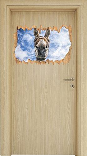 Lustiger Esel Holzdurchbruch im 3D-Look , Wand- oder Türaufkleber Format: 62x42cm, Wandsticker, Wandtattoo, Wanddekoration