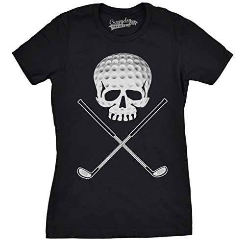 Crazy Dog Tshirts Womens Golf Jolly Roger Funny T Shirts Sport Cool Vintage Retro Tees Hilarious T Shirt (Black) -S - Damen - S (Dog Shirt Golf Black)