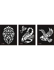 Lion Aigle Scorpion Tattoo modèles pochoirs 3feuilles pour Glitter tattoo et Air Brush Tattoo Convient