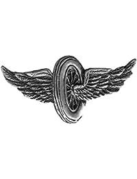 Pin's épinglette roue ailée pour gilet cuir, blouson moto