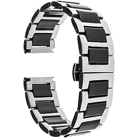 TRUMiRR 20 millimetri in ceramica Watch Band Strap Tutti i link rimovibile per Samsung Gear (20 Mm Ceramica)
