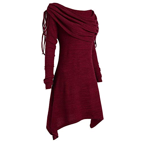 BHYDRY Herbstmode Damen Pullover Longpullover Kragen Tunika Falten Shirt Damen Loose Asymmetrisch Sweatshirt Long Top Oversize Pullover Oberteile Langarmshirt Große Größen