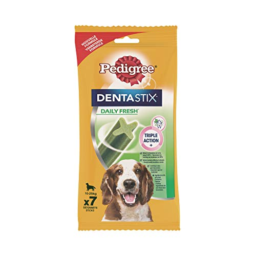 Pedigree DentaStix Fresh Hundeleckerli für mittelgroße Hunde, Kausnack gegen Zahnsteinbildung, Für gesunde Zähne und einen frischen Atem, 1er Pack (1 x 10 Pack)