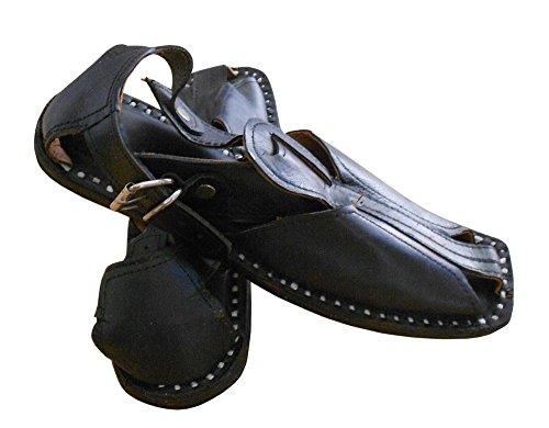 kalra Creations hommes de Casual Sandales en cuir traditionnel Indien Noir