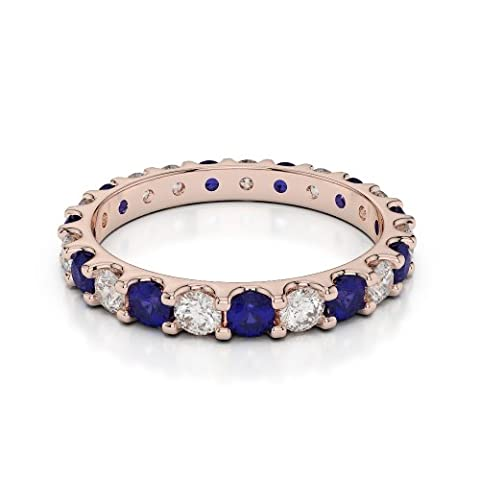 18Kt Rose Gold 1.15 Ct G-H/VS Certified Round Cut Sapphire and Diamond Full Eternity Ring AGDR-1105