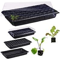Relaxdays Semillero de Germinación con 50 Compartimentos para Terraza, Jardín e Interior, Negro, 55,5 x 29 cm