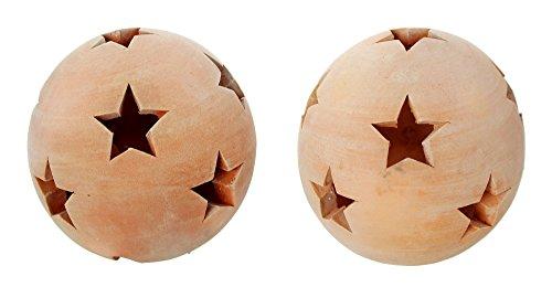 Frank Flechtwaren Terracotta-Kugel Sterne. Klein. 2er Set