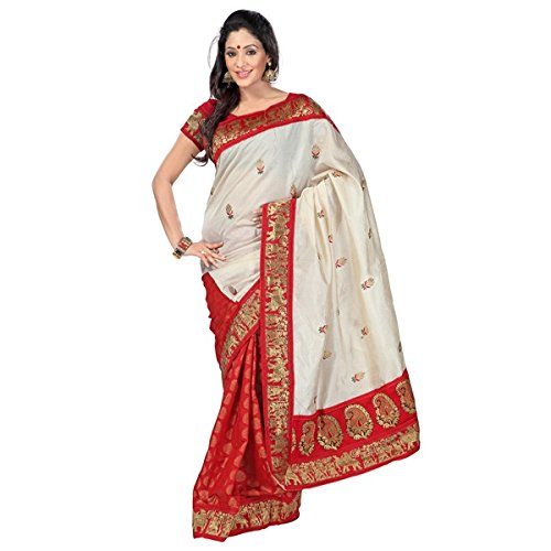 Vibes Silk Saree(VBK1_Beige & red)