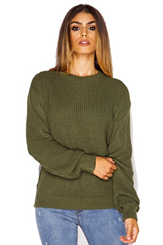 Crazy Girls Womens Ladies Baggy Long Sleeve Knitted Plain Chunky Top Sweater Jumper S-XL