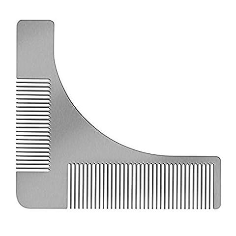 Beard Peigne, Richoose en acier inoxydable Beard Shaping Styling & Shaping outil Template / Facial Hair Shaping outil pour lignes parfaites et Symmetr
