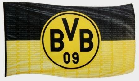 Borussia Dortmund BVB 10134300 Hissfahne 250x150cm mit Logo, Schwarz/gelb, 250 x 150 x 1 cm