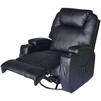 Homcom Fauteuil de Massage Relaxation électrique Chauffant inclinable pivotant 360° avec Repose-Pied Ajustable Simili Cuir Noir