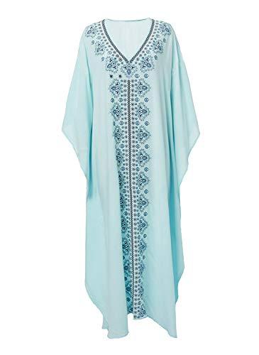 WEH Strand Vertuschungen und Kaftans Plus Size langes Kleid Baumwolle blau gestickte lose Sonnencreme Bluse für den Urlaub
