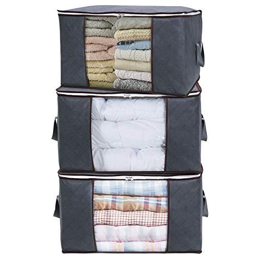 Lifewit porta abiti grande capacità con manico rinforzato tessuto moderno per trapunte, coperte, biancheria da letto, organizzatore pieghevole traspirante, grigio, confezione da 3