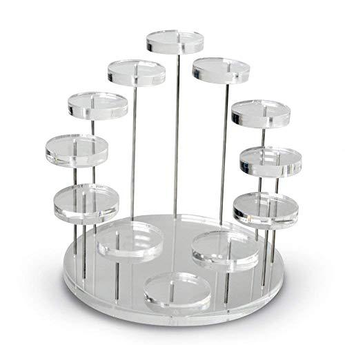 GWM 12 Tabletts Acryl Schmuck Diamant-Ausstellungsstand-Organisator-Halter/Runde drehbare Ohrring-Armband-Halsketten-Ring-Uhr-Erscheinen-Speicher-Regal-Halter, schwarz (Farbe : Klar) -