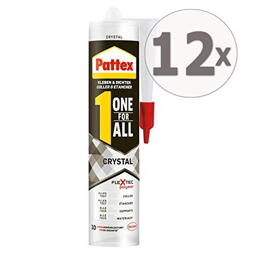 Gardopia Sparpaket: PATTEX PXFCR Montagekleber ONE for All Crystal, FlexTec® - basierter Montageklebstoff, Kleben & Dichten, 12 x 290 g