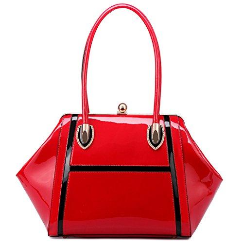 Miss LuLu Damentasche Elegant Schultertasche Shopper Tote Umhängetasche Handtasche Henkeltasche Patent PU-Leder (LT6618-Rot) (Leder-shopper Patent)