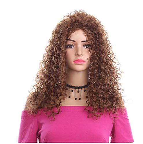 Perücken Lose Lange Lockige Perücken 100% Hitzebeständige Kunstfaser-Haarperücken für Charmante Frauen Mädchen 18 Zoll,Brown (Kostüm Schule Halloween Mädchen Japanisch)