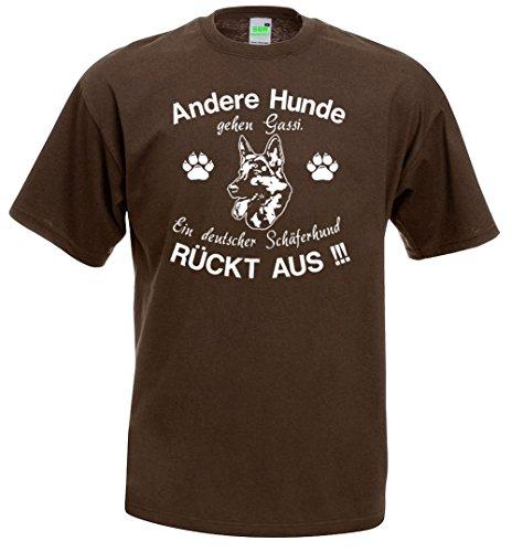 Ein Deutscher Schäferhund rückt aus | Hunde T-Shirt | Hundemotiv | Premiumshirt von Bimaxx® Braun