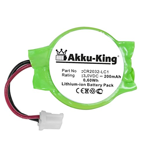 Akku-King Backup, CMOS Batterie für Sony Playstation 3, PS3 - ersetzt CR2032-LC1 - Li-Ion 200mAh - 3v Backup-batterie