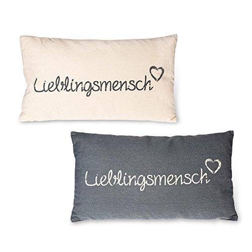 """HC-Handel 923138 Deko-Kissen """"Lieblingsmensch"""" Baumwolle 30 x 50 cm grau oder offwhite"""