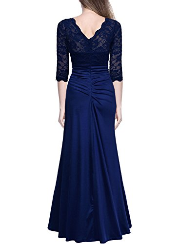 Miusol Damen Elegant Abendkleid Rundhals Dunkelblaue Spitzen Brautjungfer Cocktailkleid Vintage Cocktailkleid Langes Kleid Dunkelblau Gr.L - 3
