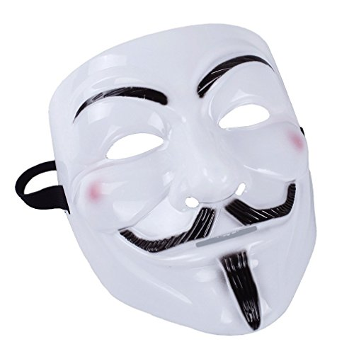 l Thema der Film V wie Vendetta Anonymous Maske Guy Fawkes Fancy Kleid Face Maske für Halloween Masquerade Karneval Kostüm Party Supplies, weiß, V for Vendetta (Film Themen Halloween Kostüme)