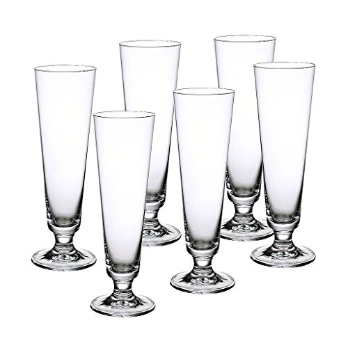 6 x Bierglas, Biertulpe, Pilsglas RIESA 0,25 Liter, H=21,5 cm, Glas im modernem Style (FAN UNIKATE powered by CRISTALICA)