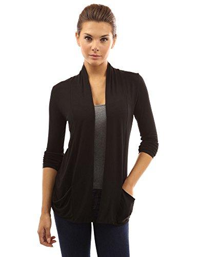 PattyBoutik Damen weiche Stretch Schalkragen Strickjacke mit Taschen und Langen Ärmeln (schwarz 34/XS)