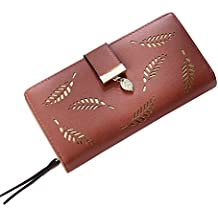 Billetera Hombre,Billetera,billeteras,Long Fashion Clutch, Hollow Leaf Zip Buckle Wallet